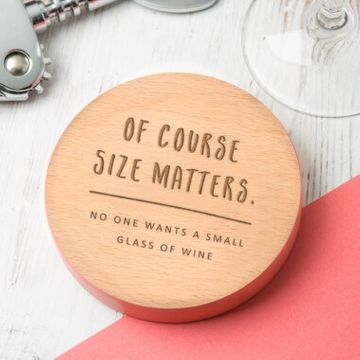 Personalised Size Matters Wooden Coaster
