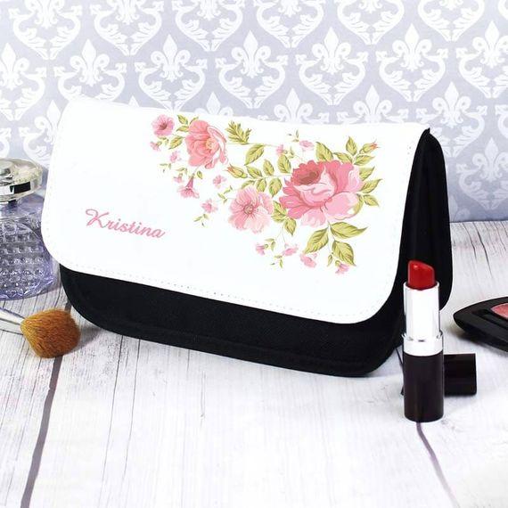 Personalised Rose Make Up Bag