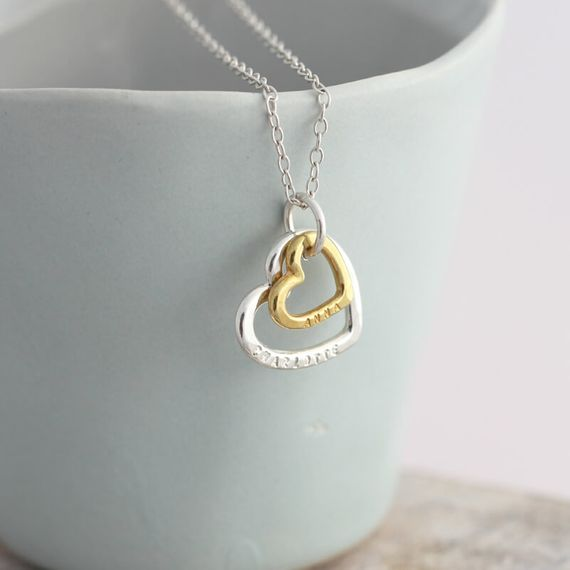 Personalised Silver And 9ct Gold Family Heart Necklace