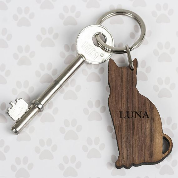 Personalised Wooden Cat Keyring