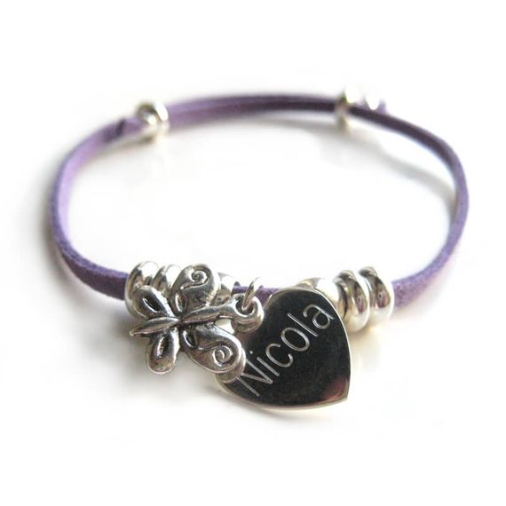 Personalised Suede Butterfly Bracelet