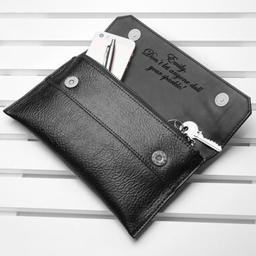 Personalised Leather Clutch Bag - Black