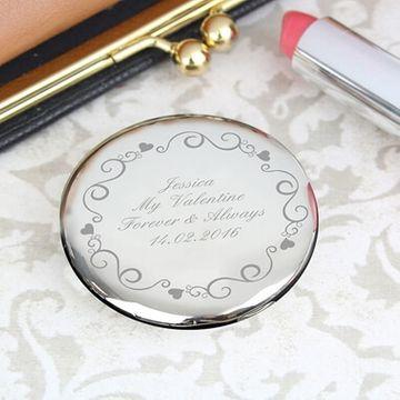 Personalised Ornate Swirl Compact Mirror