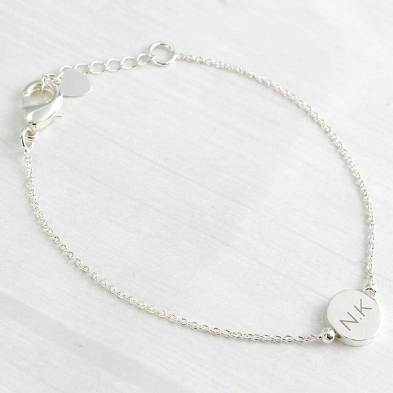 Personalised Silver Plated Disc Bracelet