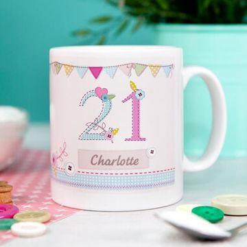 Personalised 21st Birthday Craft Mug