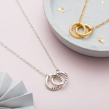 Personalised Double Hoop Names Necklace