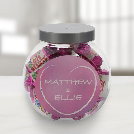 Personalised Love Hearts Mini Jar