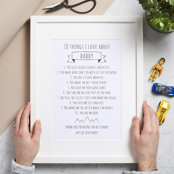 Personalised Ten Things I Love About Daddy Print