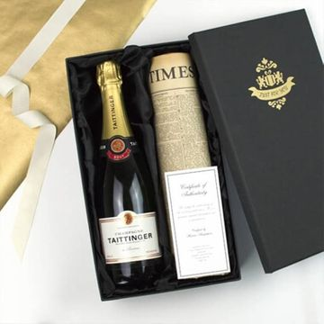 Tattinger Champagne and Newspaper in a Silk Lined Gift Box