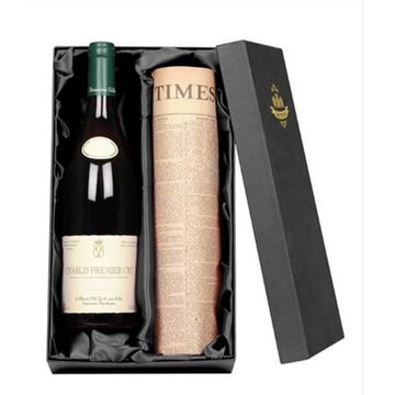 Chablis Premier Cru Wine and Newspaper in a Silk Lined Gift Box