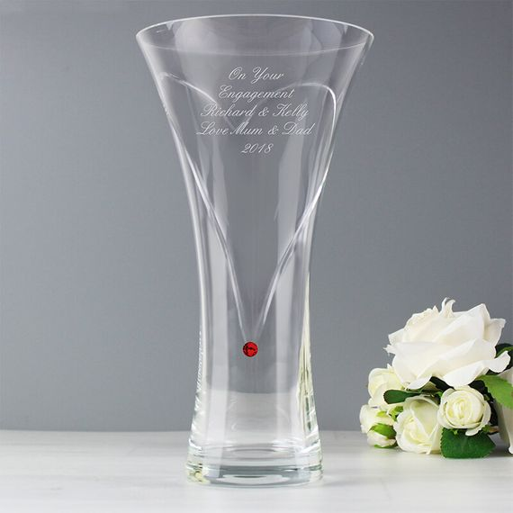 Personalised Large Hand Cut Ruby Diamante Heart Vase with Swarovski Elements