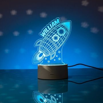 Personalised Rocket LED Colour Changing Night Light