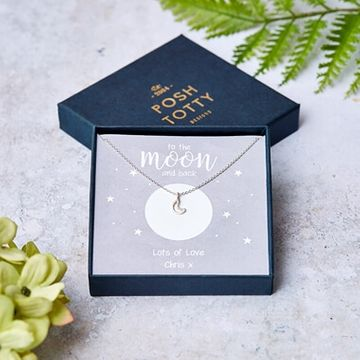 Personalised Moon & Back Necklace