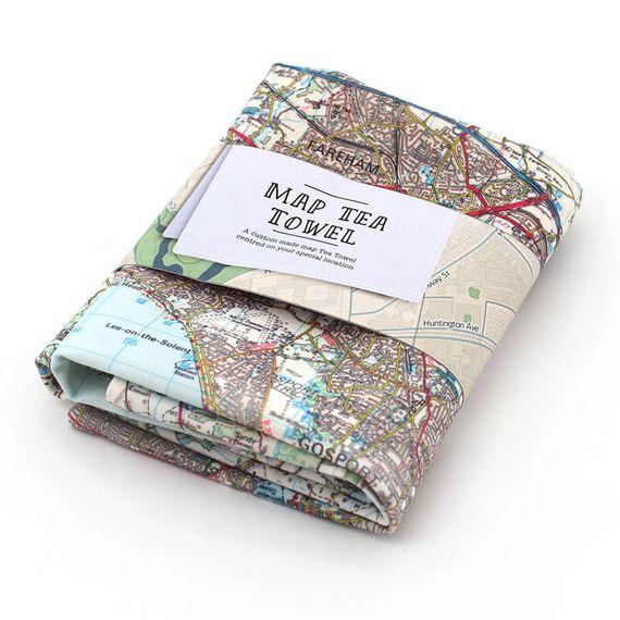 Personalised Map Tea Towel
