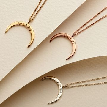 Personalised Crescent Horn Necklace