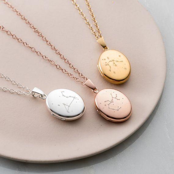 Personalised Zodiac Constellation Locket Necklace
