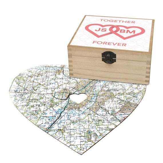 Personalised Heart Shaped Postcode Jigsaw - Together Forever
