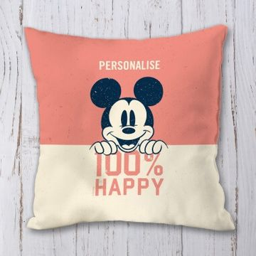 Personalised Disney Mickey Mouse 100% Happy Cushion