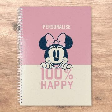 Personalised Disney Minnie Mouse 100% Happy Notebook