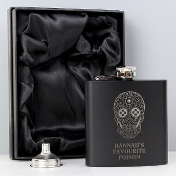 Personalised Sugar Skull Black Hip Flask