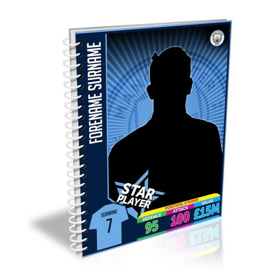 Personalised Manchester City Trading Card A5 Lined Notebook