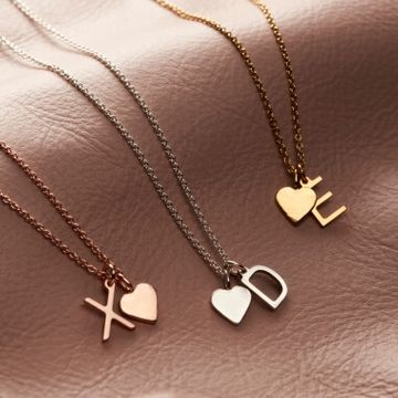 Personalised Letter and Heart Necklace