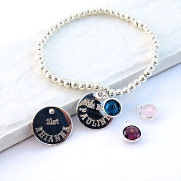 Personalised Duchess Stacking Ball Birthstone Bracelet