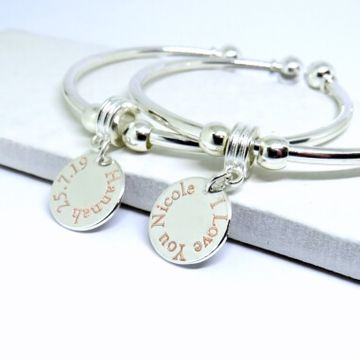 Personalised Edge Disc Bangle