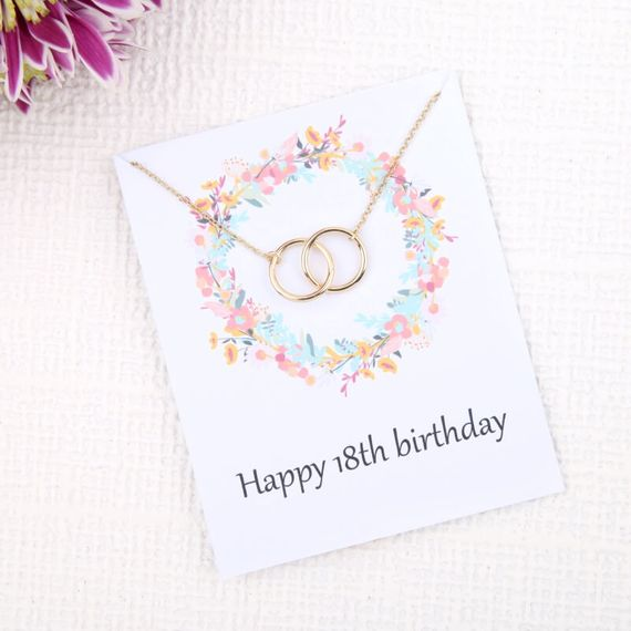 18th Birthday Flower Card Necklace