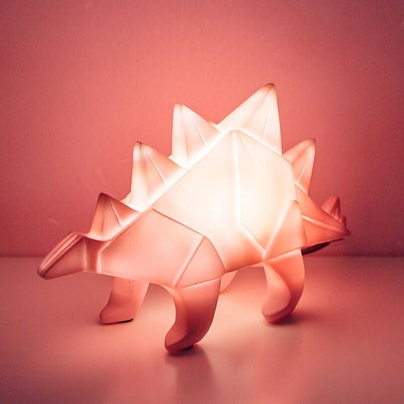 Origami Stegosaurus Table Lamp Pink
