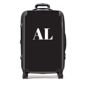 Personalised Medium Black Suitcase with White Initials