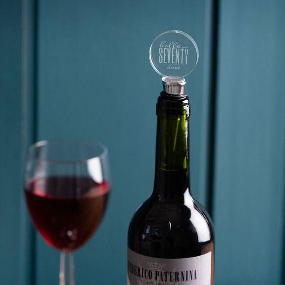Personalised Hello Seventy Birthday Bottle Stopper