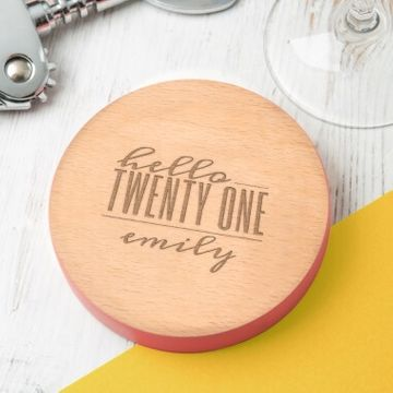 Personalised Hello Twenty One Birthday Coloured Coaster