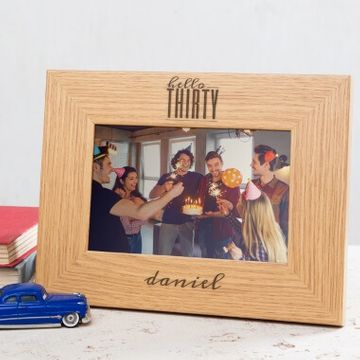 Personalised Hello Thirty Birthday Wooden Photo Frame