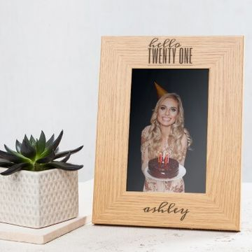 Personalised Hello Twenty One Birthday Wooden Photo Frame