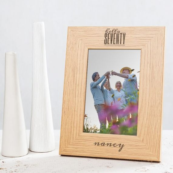 Personalised Hello Seventy Birthday Wooden Photo Frame