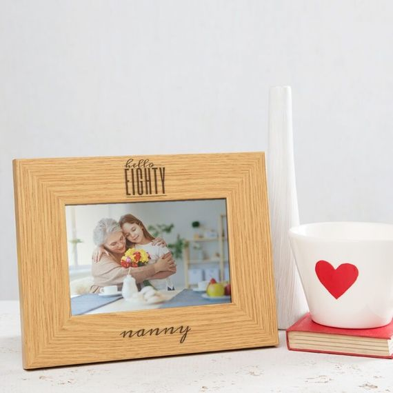 Personalised Hello Eighty Birthday Wooden Photo Frame