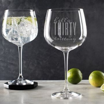 Personalised Hello Thirty Birthday Gin Goblet