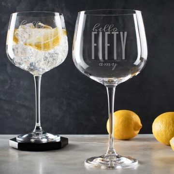 Personalised Hello Fifty Birthday Gin Goblet