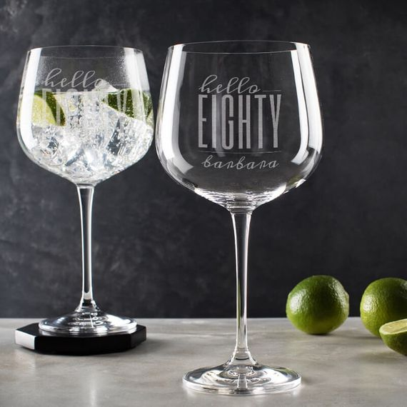 Personalised Hello Eighty Birthday Gin Goblet