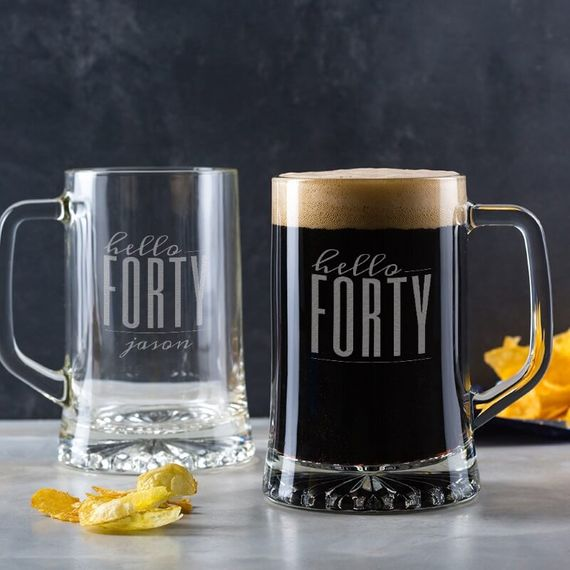 Personalised Hello Forty Birthday Glass Tankard