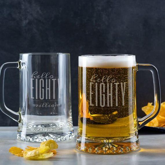 Personalised Hello Eighty Birthday Glass Tankard