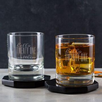 Personalised Hello Twenty One Birthday Whisky Tumbler