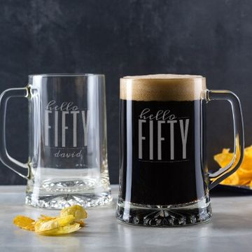 Personalised Hello Fifty Birthday Glass Tankard