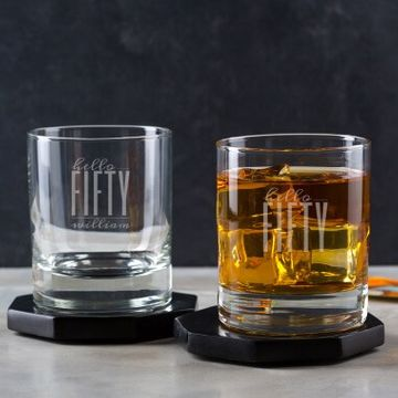 Personalised Hello Fifty Birthday Whisky Tumbler