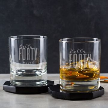 Personalised Hello Forty Birthday Whisky Tumbler