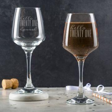 Personalised Hello Twenty One Birthday Wine Glass