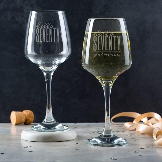 Personalised Hello Seventy Birthday Wine Glass