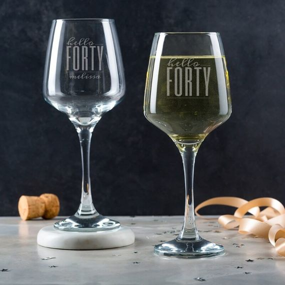Personalised Hello Forty Birthday Wine Glass