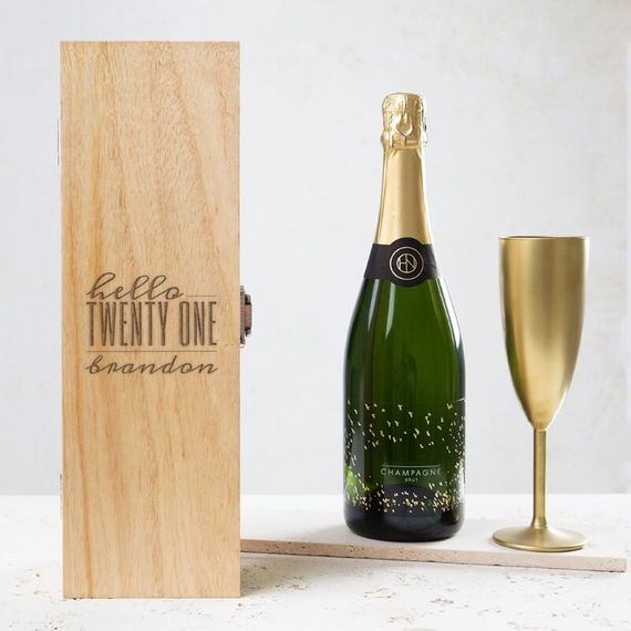 Personalised Hello Twenty One Birthday Wine Box